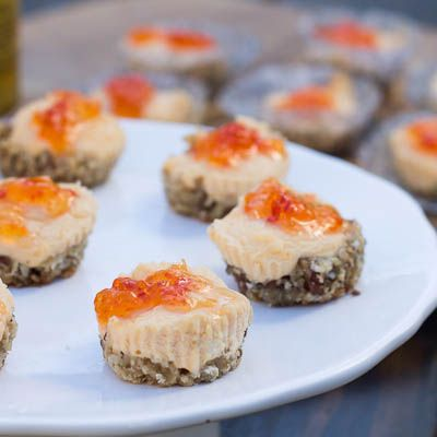 Pepper Jelly-Goat Cheese Cakes This will be big hit with their savory nutty bottoms, creamy  tangy middles & sweet and peppery tops.