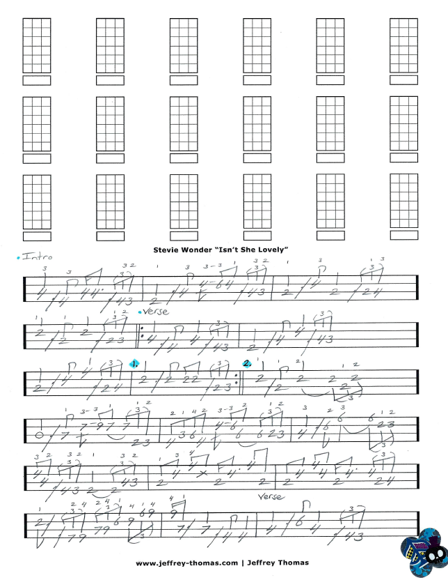 Stevie Wonder Isnt She Lovely Bass Tab By Jeffrey Thomas Learn To