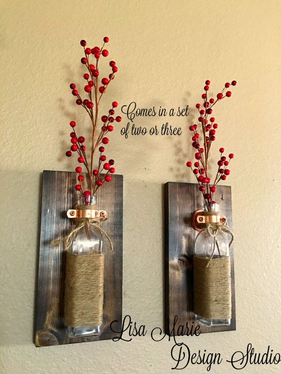 Rustic Wall Sconce.Mason Jar Sconce.Wood Wall by LisaMarieDS | home ...