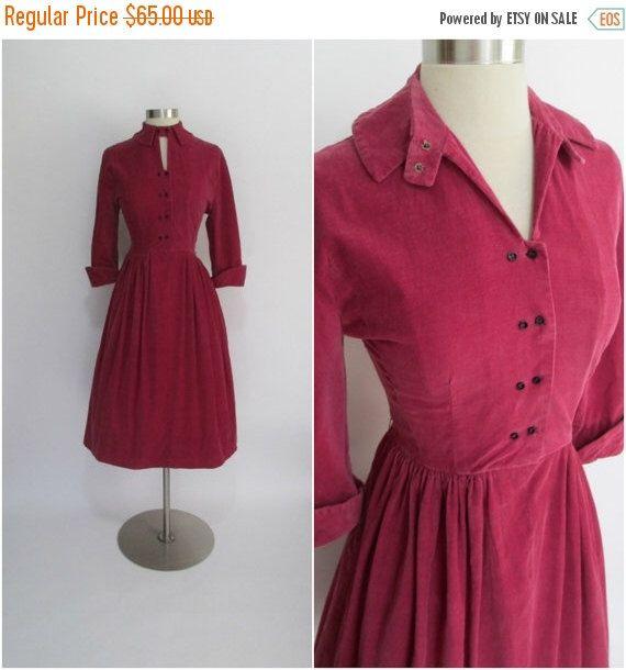 "25% Off SALE JONATHAN LOGAN Cordurella by Crompton 1950's Vintage Maroon Corduroy Shirtwaist Dress 27"" Waist by RubyFayesVintage on Etsy https://www.etsy.com/listing/206690508/25-off-sale-jonathan-logan-cordurella-by"