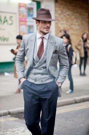 9e2136573d0 David Gandy in Mid Grey Flannel with Double Breasted Vest & Navy ...