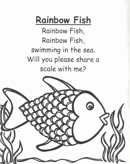 Rainbow Fish Coloring Page Beautiful Poetry Book by This