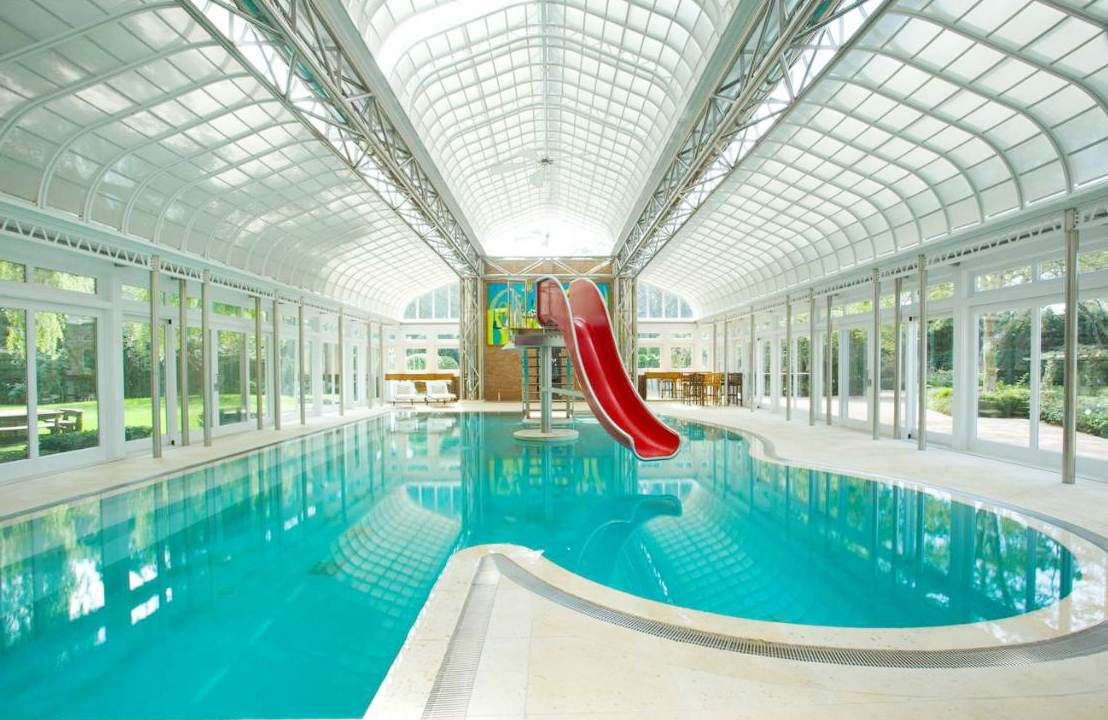 Modern Pool Designs With Slide mansions with indoor pools | great indoor mansions with pools