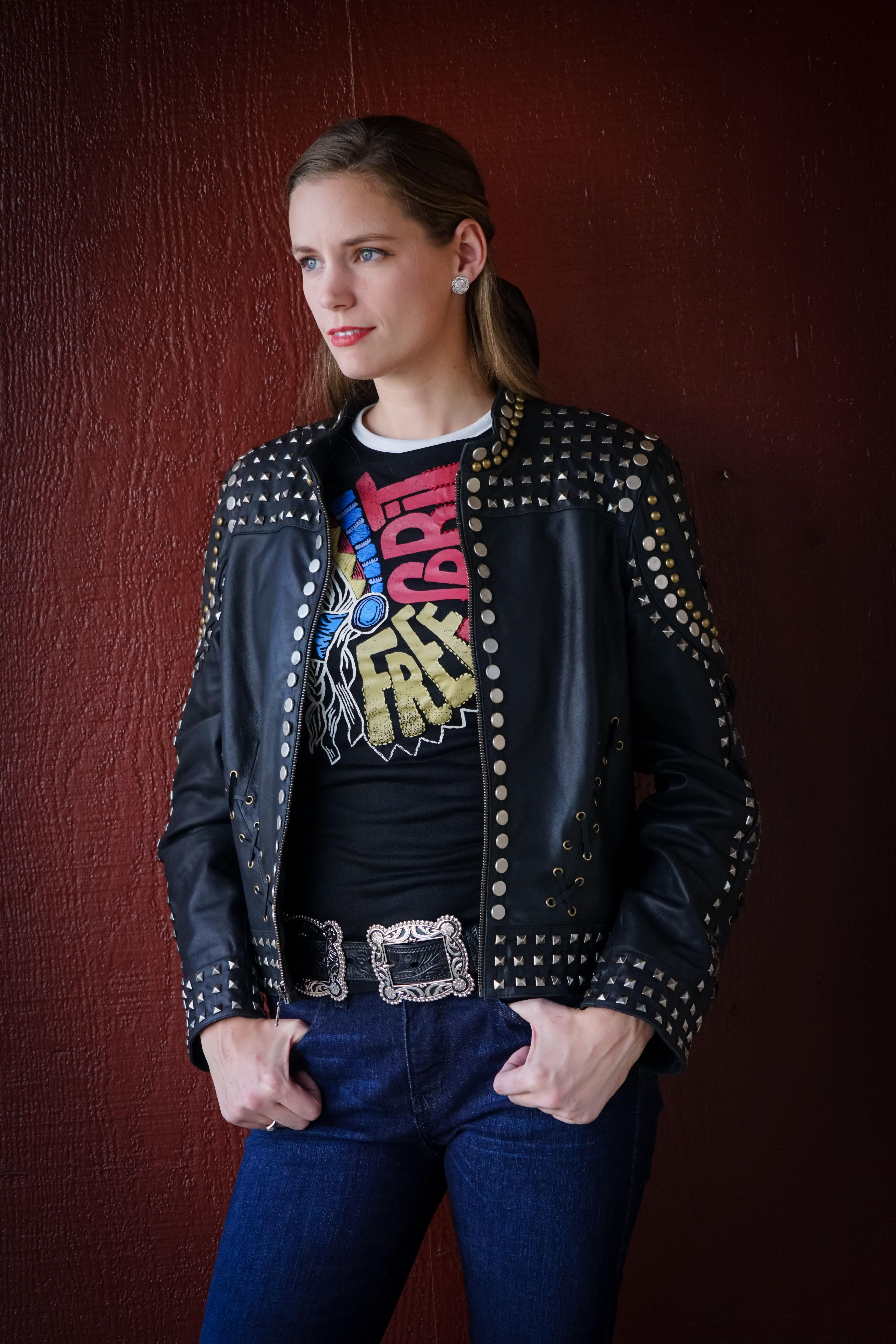 af574d693 Sometimes less is more and these studded leather bomber jacket is an ...