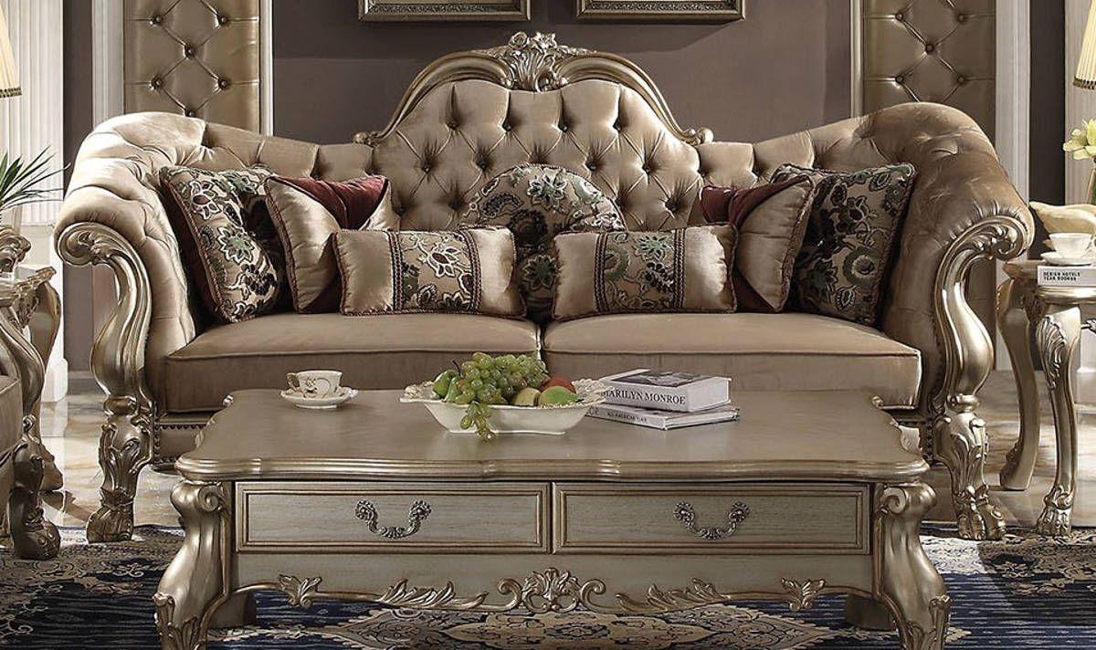 Acme Furniture Dresden Gold Patina Sofa With Seven Pillows