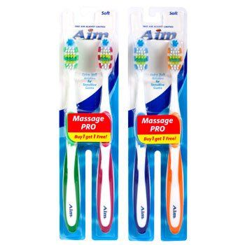 Aim Soft Bristle Toothbrushes 2 Ct Pack Toothbrush Bristles Colgate Toothbrush Travel Size Products