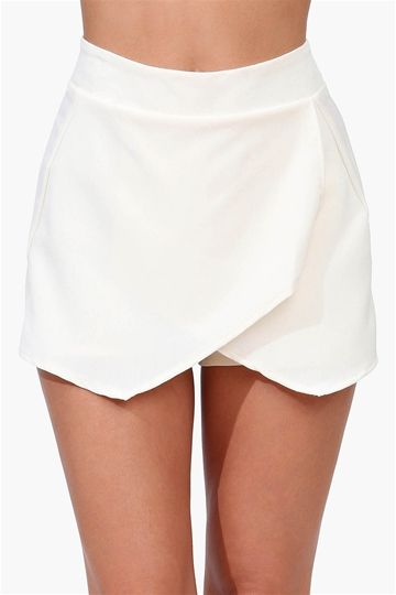 Ladies Women Skorts Shorts Irregular Flanging Wrap Plain Culottes 2 Side Pockets