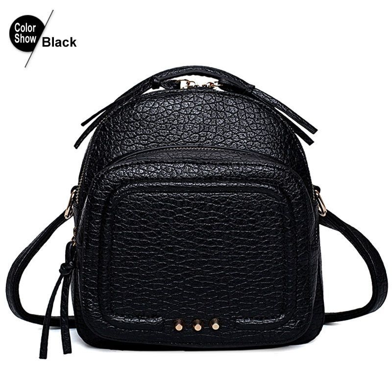 RoyaDong 2016 Small Women Backpack PU Leather Rivet Tassel Zipper Vintage Teenage Girls Backpack