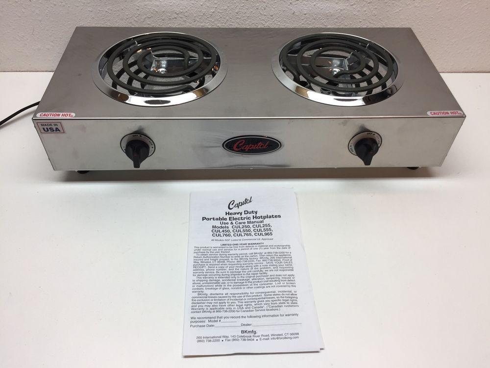 Capitol Range Electric Double Burner Hot Plate 17 5 X 3 5 X 11 5 Ebay Hotplates Electric Hotplates Double Burner