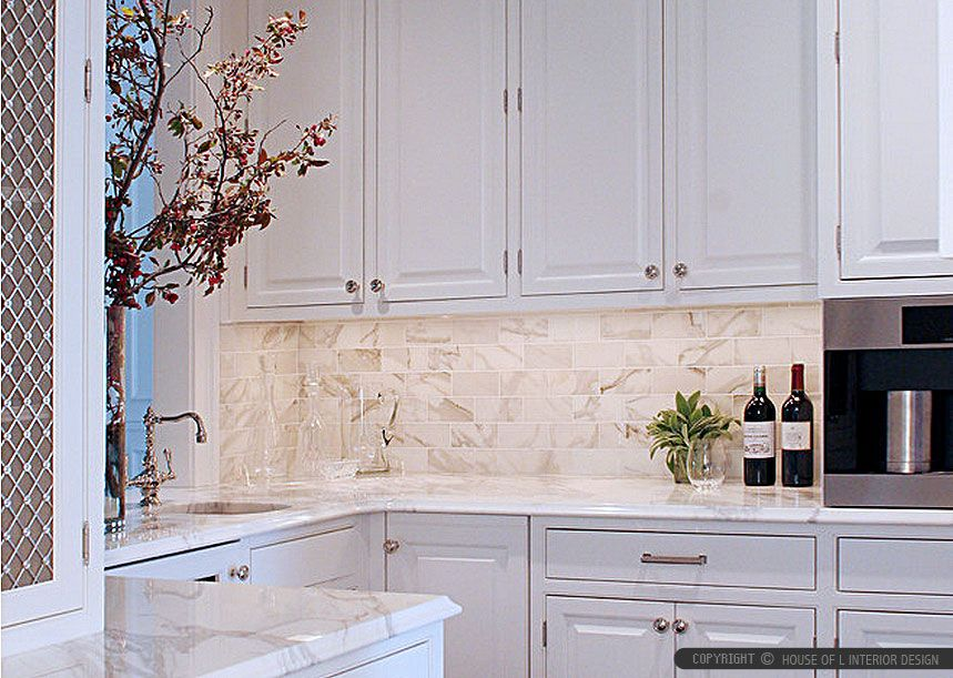 Modern Kitchen Marble Backsplash subway calacatta gold tile backsplash idea - backsplash