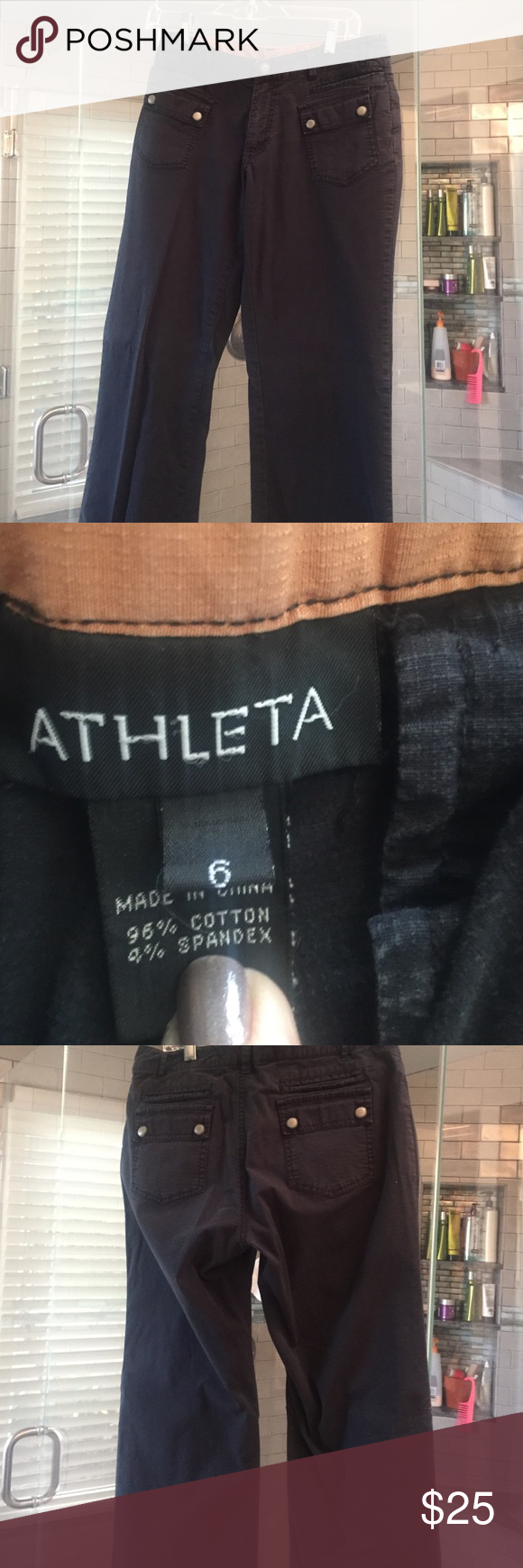 """Pants Black Athleta pants. Perfect condition but don't know the style. Inseam 27 ½"""", 19"""" circumference at leg opening. Athleta Pants Boot Cut & Flare"""