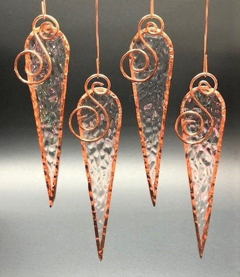 Small Clear-Iridized Stained Glass Icicles (Set of 4) #setinstains