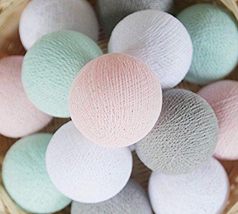 20 Baumwolle Kugel Lichterkette Stoff Ball Zuhause Schlafzimmer