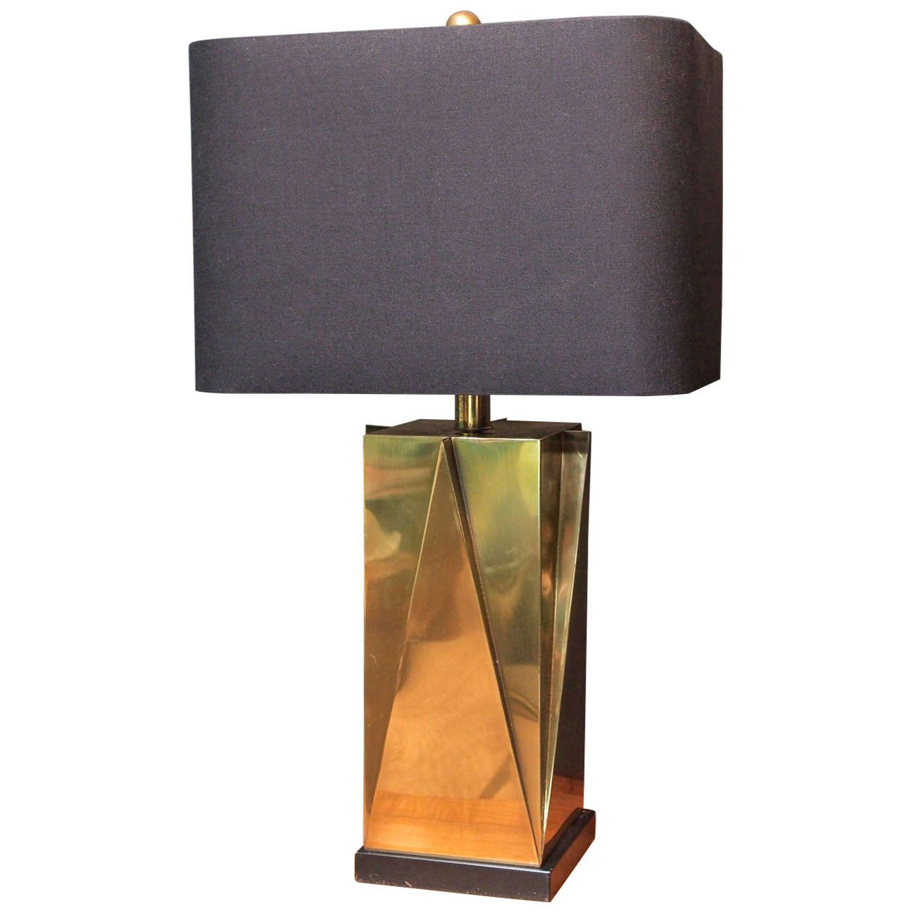 Geometric Brass Lamp, Set On Black Square Base