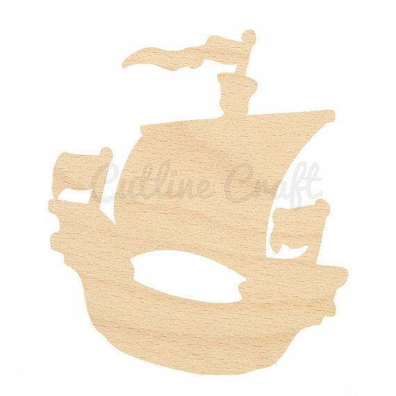 Pirate Ship Cutout Shapes Crafts, Gift Tags Ornaments Laser Cut Birch Wood Various Sizes, Style 403