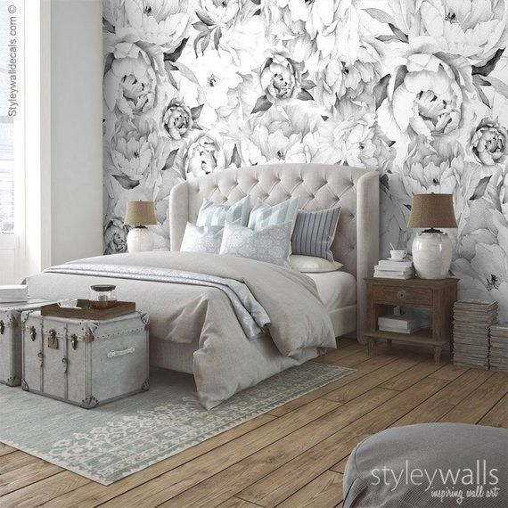 Peony Wallpaper Peony Wall Mural Peonies Floral Wallpaper Black And White Watercolor Flowers Wallpaper Repositionable Fabric In 2020 Peony Wallpaper Discount Bedroom Furniture Floral Wallpaper Bedroom
