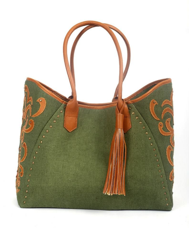 Tote bag with hemp fabric which was hand woven by ethnic