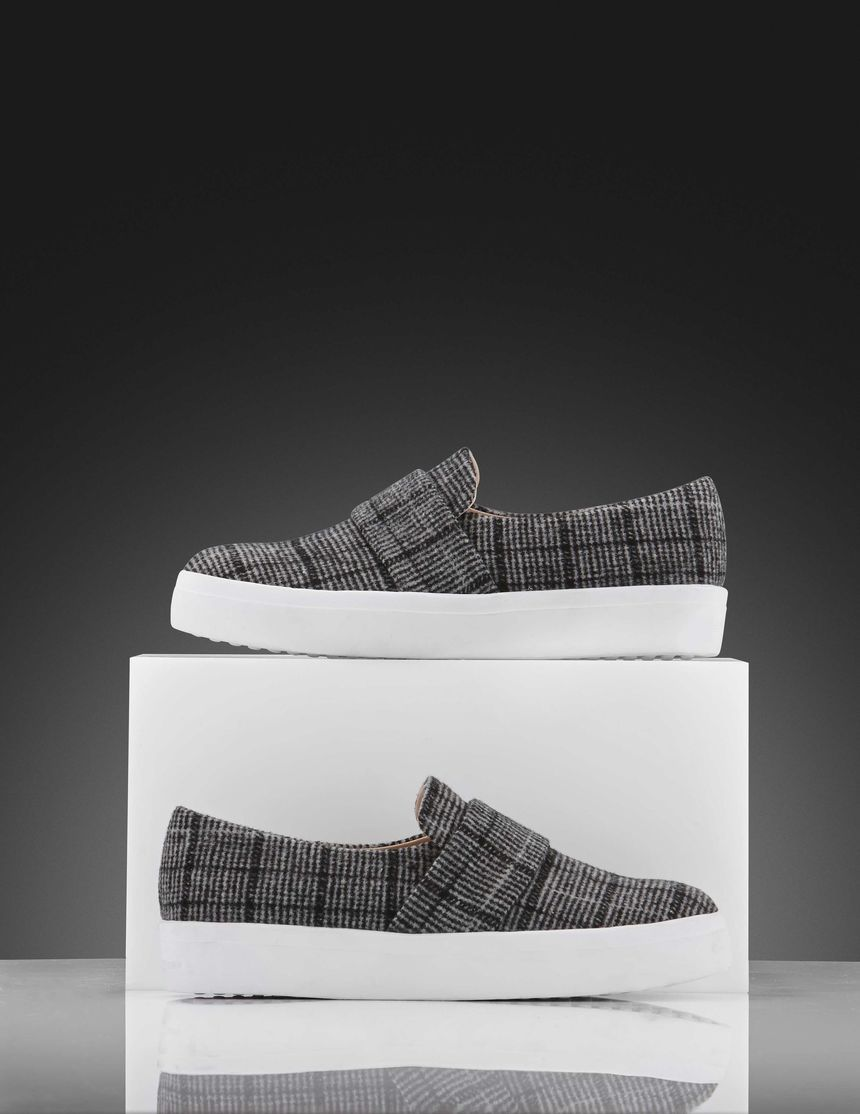 aeef1a76996 Yvonne W sneakers-Women s slip-on sneaker in woven checked fabric. Features  a wide strap across front of shoe in same fabric. Rubber outsole.