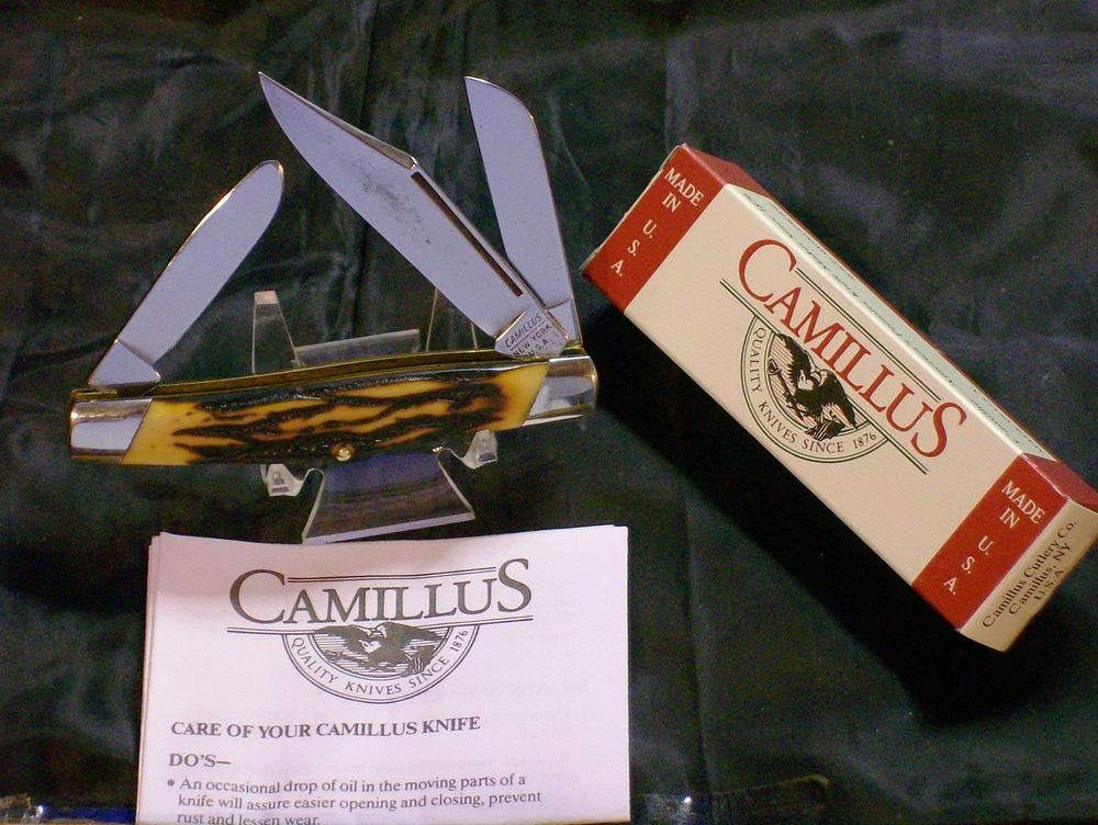 """Camillus 78 Knife Cattlemans Knives 3-7/8"""" Stag Appearance W/Packaging,Paperwork @ ditwtexas.webstoreplace.com"""
