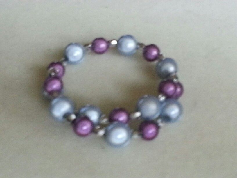 Memory wire wrap around bracelet with silver tone spacer beads and grey and purple miracle beads x