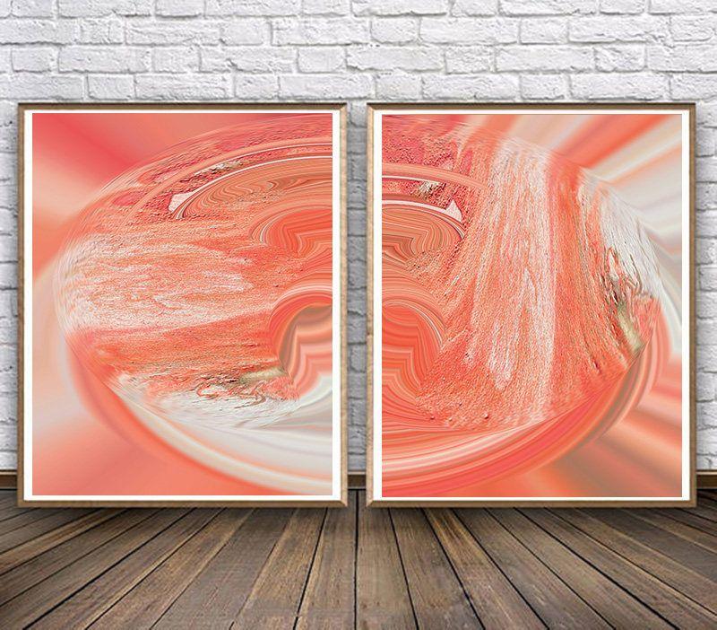 Set Of Two Prints Coral Color Wallart Coralprint Art Decor Abstract Prints Setoftwo Setof2 Paintings Abst Coral Print Coral Pictures Wall Colors