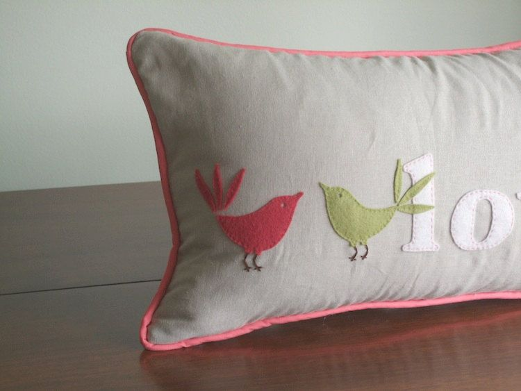 Love Bird Pillow. pink    Love this but with Ava's Name :)