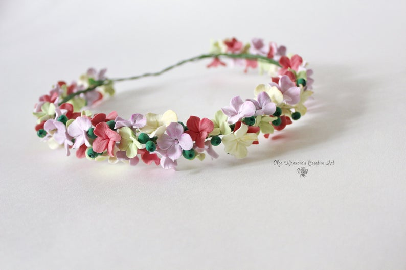 Hortensia fleur couronne Couronne florale halo mariée mariage bandeau floral Pastel bandeau Floral halo bandeau de fleur fleuriste Couronne