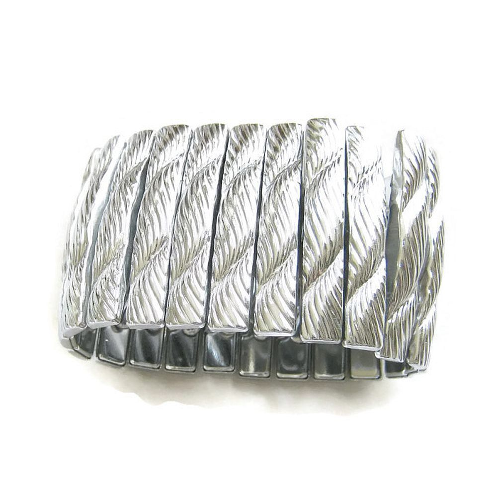 Vintage chunky swirl design silver tone wide expansion bracelet by