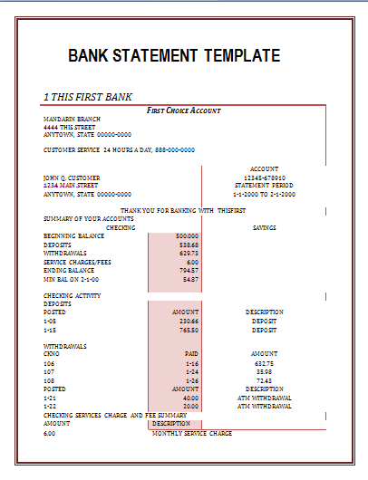 bank statement template | Office Work | Pinterest