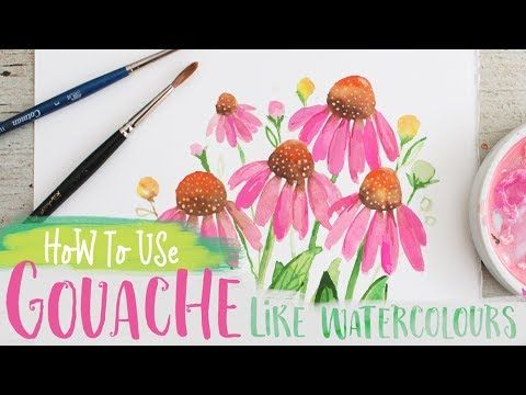 7 How To Use Gouache Like Watercolours Echinacea Coneflower Painting Tutorial Youtube Painting Tutorial Echinacea Gouache