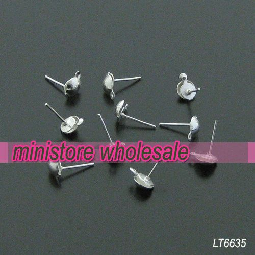 Bulk Sale  200pcs 6X13mm Silver Plated Ear Posts With by ministore, $3.80