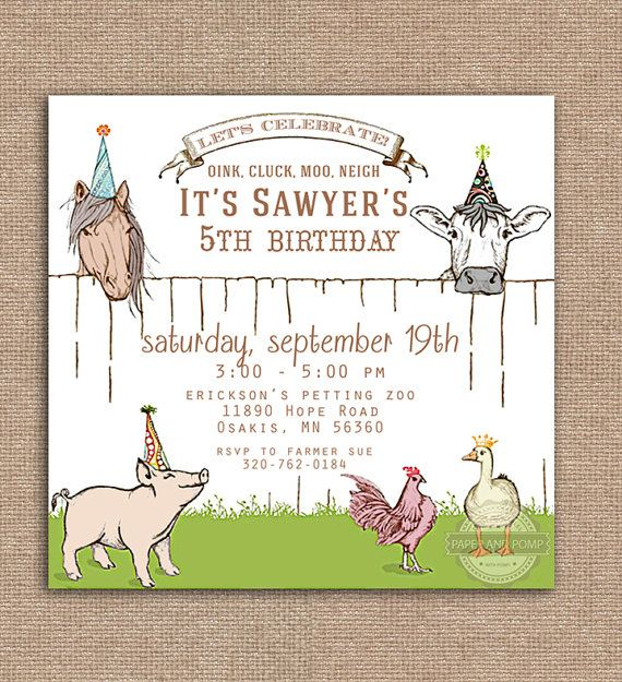 Party Animals Farm Petting Zoo Birthday Invitation by PaperandPomp