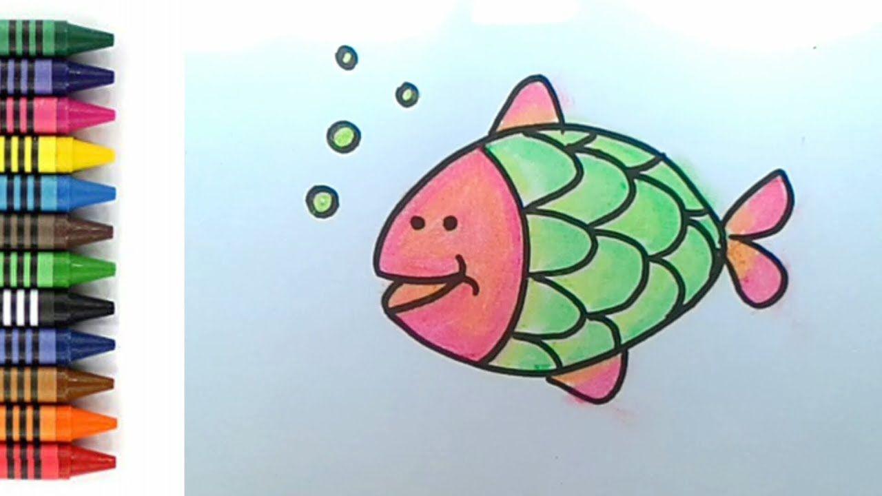 How To Draw Fish For Kids Menggambar Dan Mewarnai Ikan Untuk Anak
