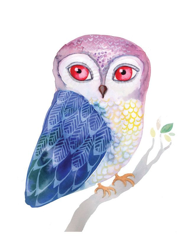 Blue Winged Owl Archival Art Print Watercolor Gouache Painting