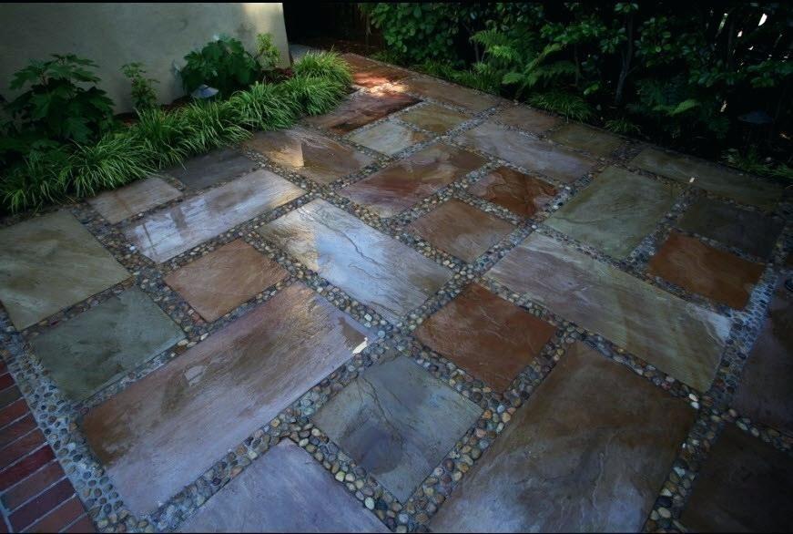 Pebbled Cement Inlays Google Search Patio Stones Stone Patio Designs Slate Patio