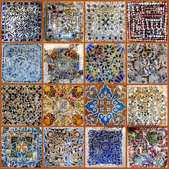 Gaudi Mosaic Tiles Collage on Canvas. Photos of Parc Guell ...