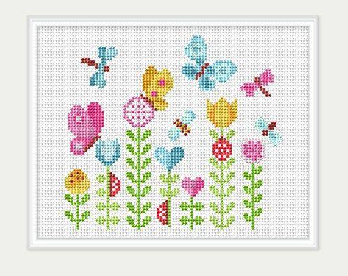 Photo of Cross Stitch Pattern  Flowers Embroidery  Flowers Cross Stitch  Birthday gift  P…
