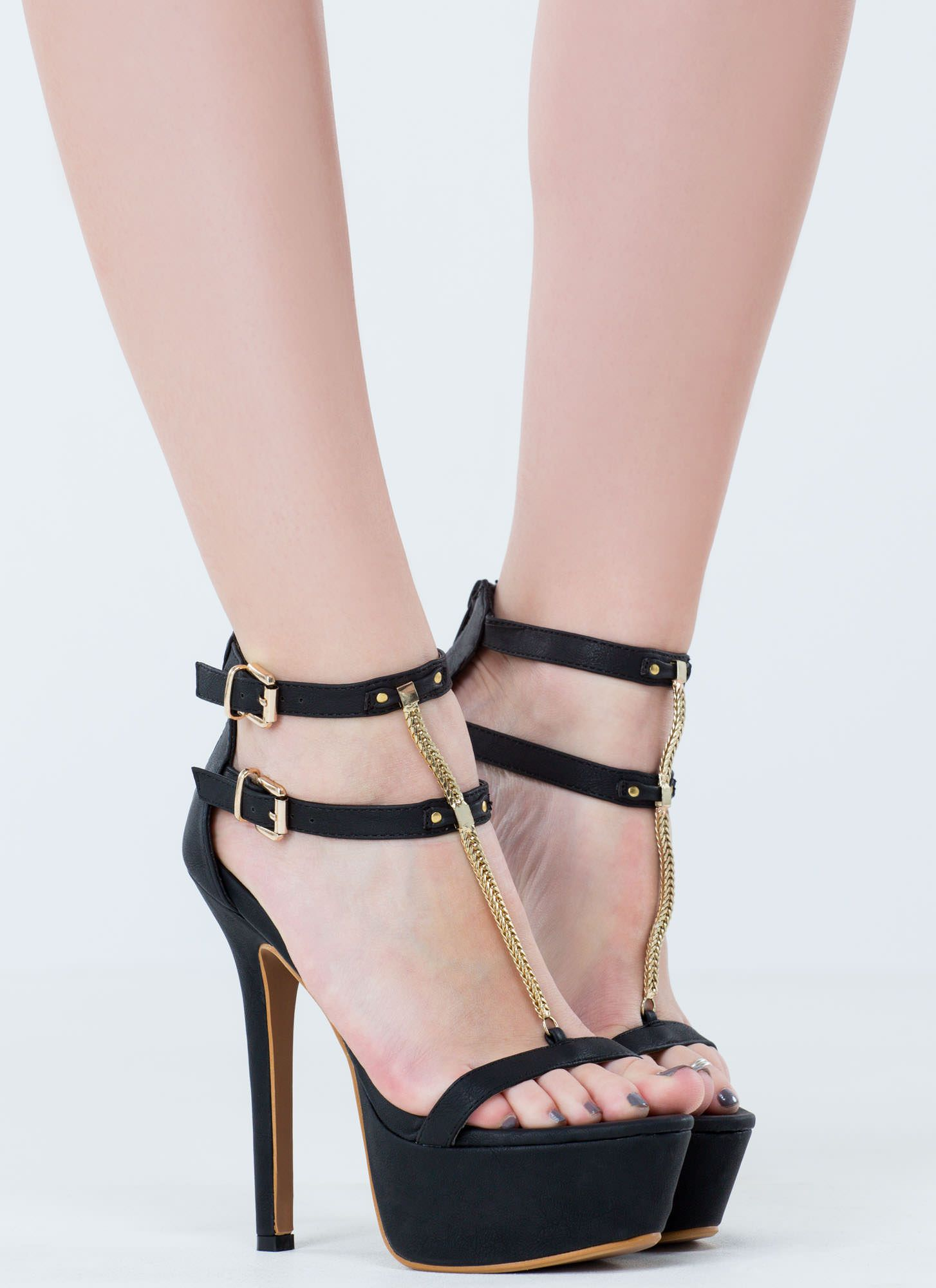 Chained Fox Strappy Platform Heels BLACK WHITE - GoJane.com ...