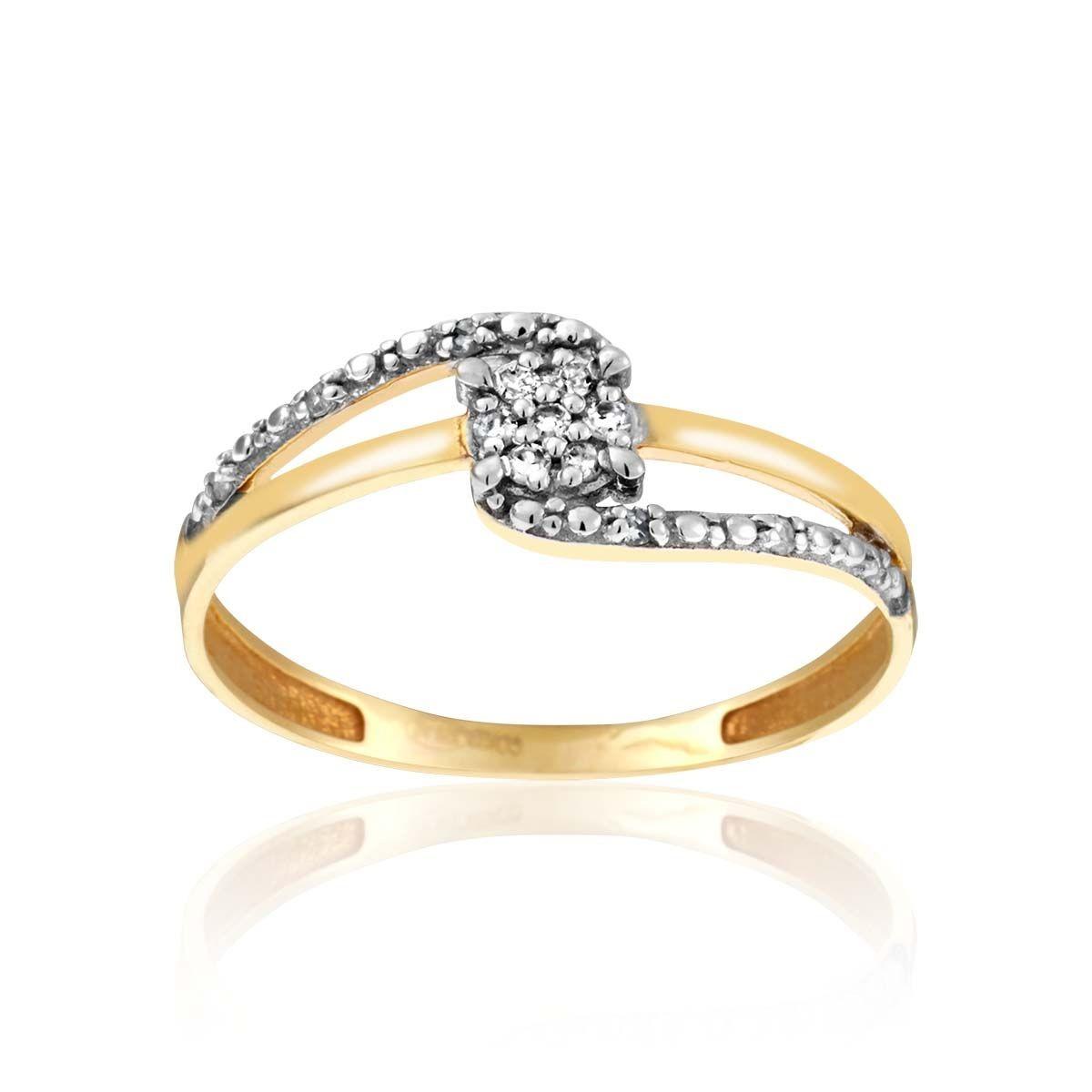 bague or blanc et diamant cleor