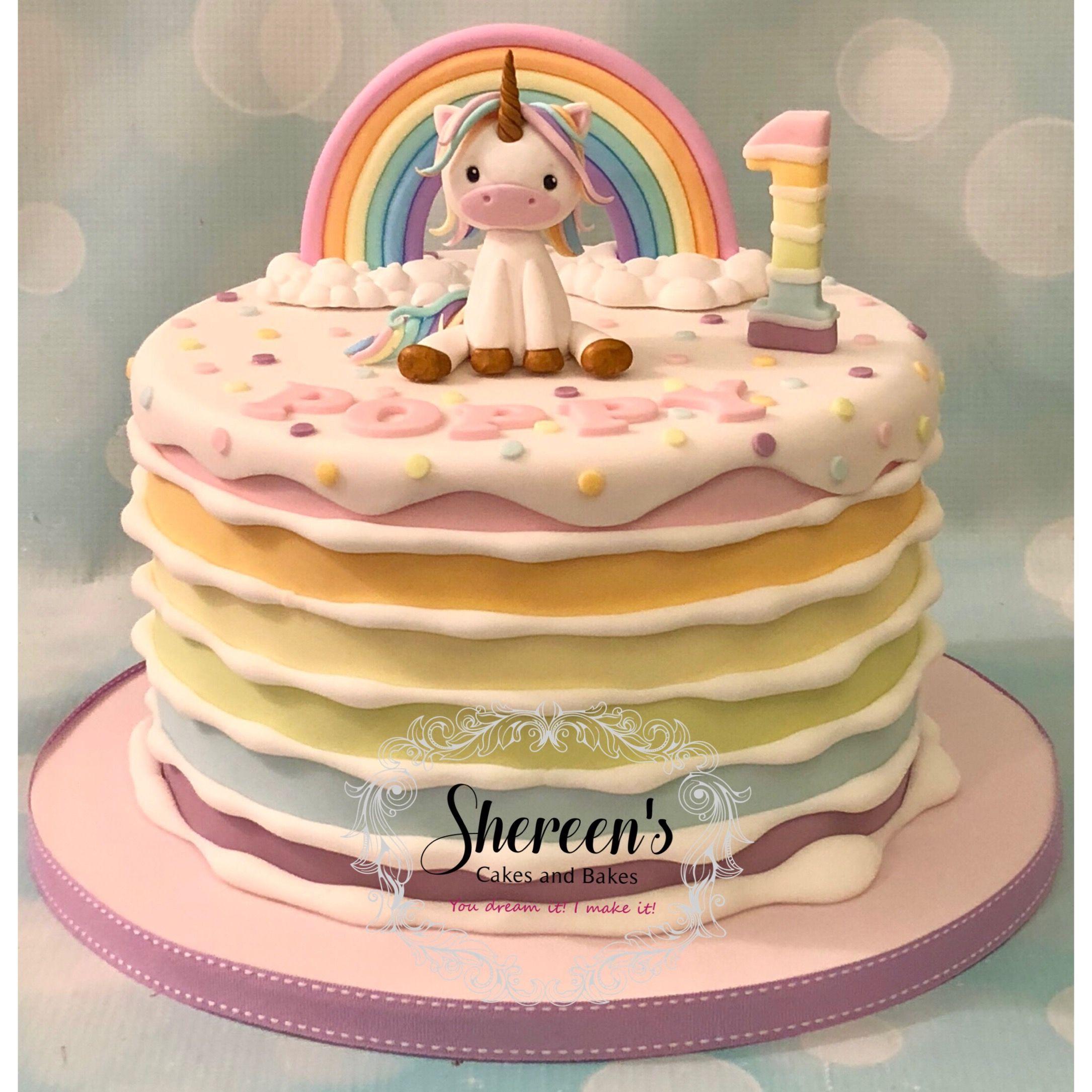 Pastel Rainbow Unicorn Cake Stripe First Birthday Novelty Cake Birthday Cake Kids Unicorn Birthday Cake Yellow Birthday Cakes