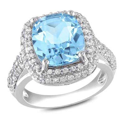 Zales 8.0mm Cushion-Cut Blue and White Topaz Frame Split Shank Ring in Sterling Silver ZncKGzYI