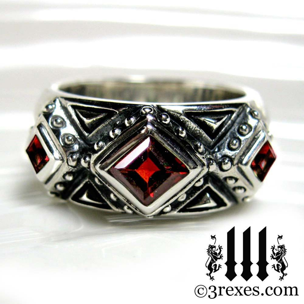 3 kings mens wedding ring medieval band red garnet sterling silver