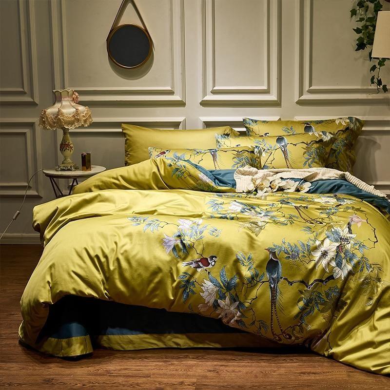 Silky Egyptian Cotton Yellow Chinoiserie Style Birds Flowers Duvet Cover Bed Sheet Fitted Sheet Set King Size Queen Bedding Set Parure De Lit Ensembles De Literie De La Reine Jeux De