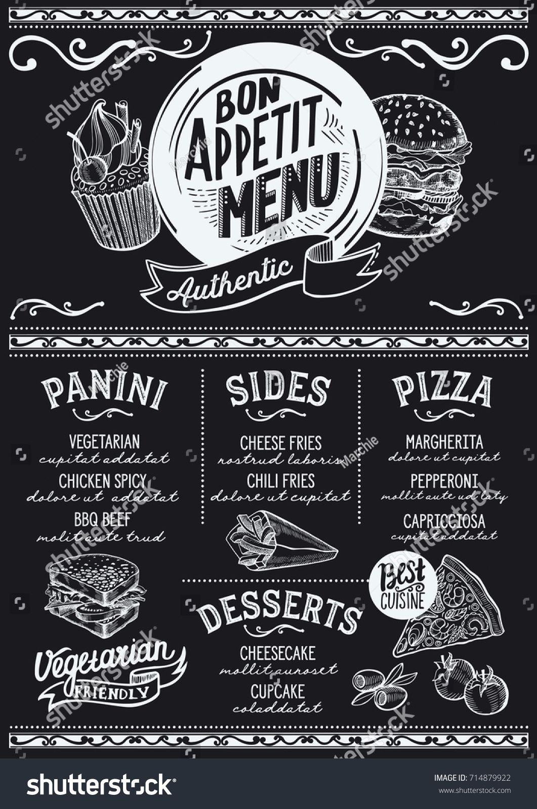 Food Menu For Restaurant And Cafe Design Template With Hand Drawn