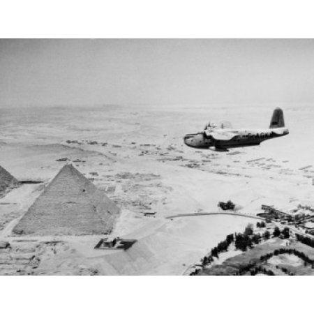 Egypt Giza Aeroplane flying over Giza Pyramids Canvas Art - (18 x 24)