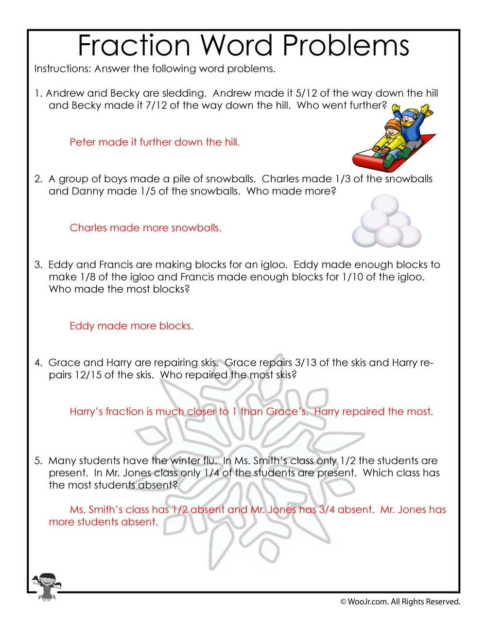 January Fractions Word Problems Worksheet - ANSWER KEY   Woo! Jr. Kids  Activities   Fraction word problems [ 1294 x 1000 Pixel ]