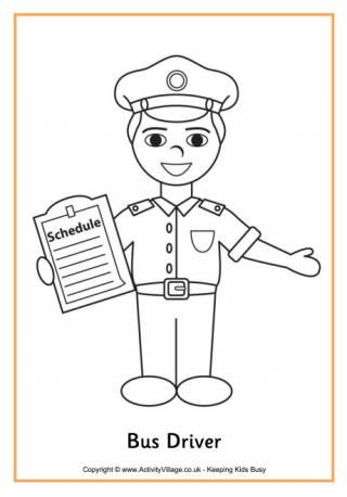 Bus driver colouring sheet. | Bus driver | Pinterest | People who ...