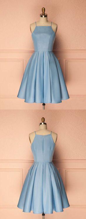 cute short blue prom dress, cute homecoming dress, blue bridesmaid ...