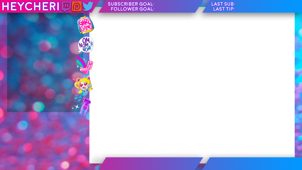 My Twitch Overlay! Hee Hee! So Fkng Girly