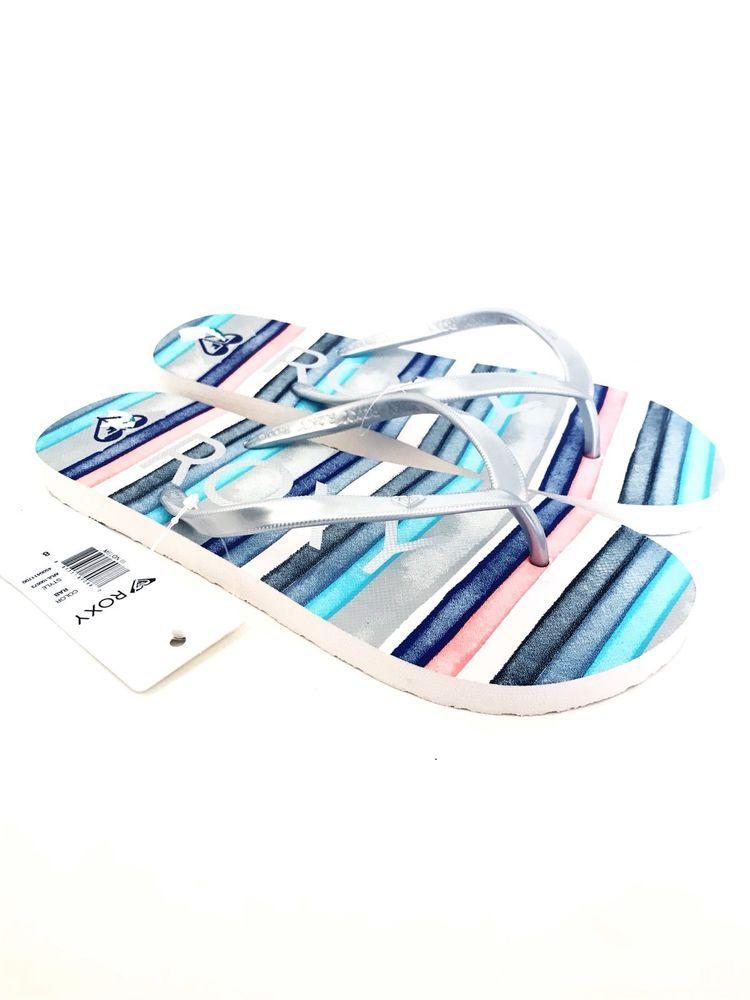 Roxy Striped Flip Flops Pink Blue Silver Size 8 Nwt  Ebay -9376